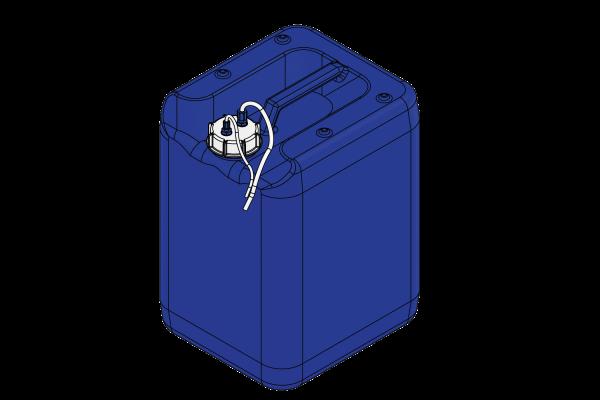"""Kraftstoffcontainer (DN61) 20l, """"hoch"""", fertig konfektioniert, mit Filter undAnschlüssen"""
